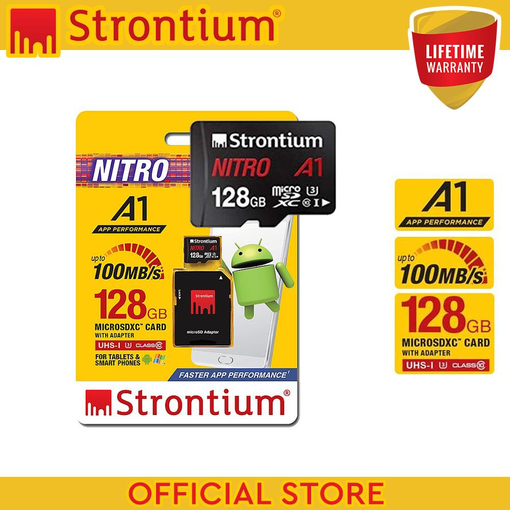 Strontium Nitro Srn128gtfu3a1a 128gb Micro Sdxc Card Class 10 A1 With Adapter (speed Up To 100mb/s) By Usb And Toys.