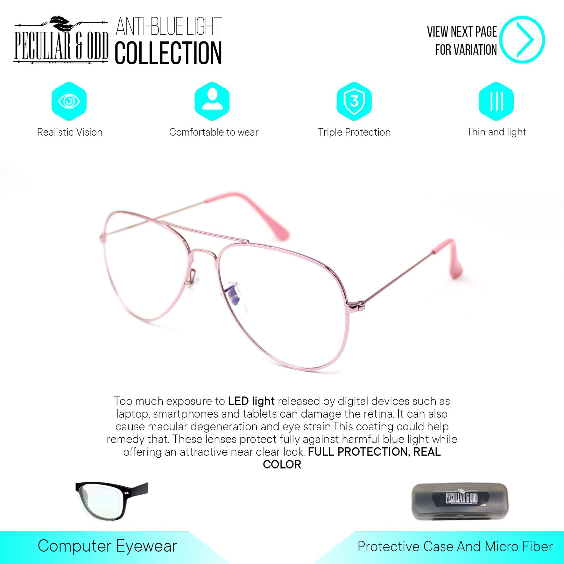 46f342472 Peculiar Aviator Pilot 3027 Anti-Radiarion Lenses in Thin Metal Frame  Lightweight Replaceable for Prescription
