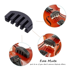 Violin Shoulder Rest for 4/4-3/4 Size with Collapsible and Height Adjustable Feet Including a Violin Practice Mute