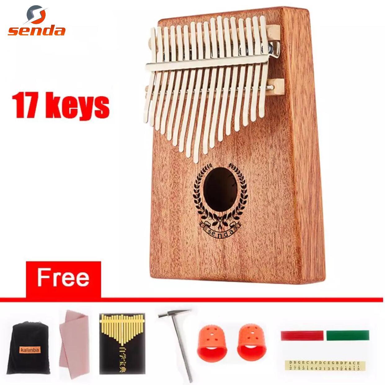 Senda Kalimba 17 Keys Thumb Piano and Tune Hammer,Portable Mahogany Body  Finger Piano Kit