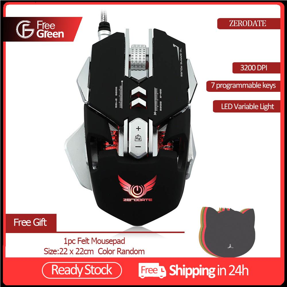 FreeGreen ZERODATE X300GY Mechanical Gaming Mouse Game Competitive Mice  Adjustable 3200 DPI 7 Programmable Buttons LED backlight for LOL Comouter