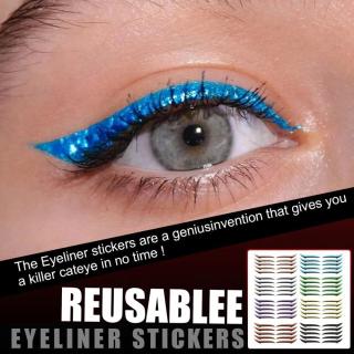 ESKFF Bút Kẻ Mắt Tự Dính Nhiều Màu Cho Nữ Dụng Cụ Làm Đẹp, Tái Sử Dụng Bút Kẻ Mắt Nhãn Dán Phụ Kiện Trang Điểm Dụng Cụ Mí Mắt, Miếng Dán Hai Mí thumbnail