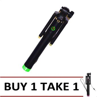A-01 Foldable Selfie Stick Monopod With Remote Shutter (Green/Black) BUY 1 TAKE 1