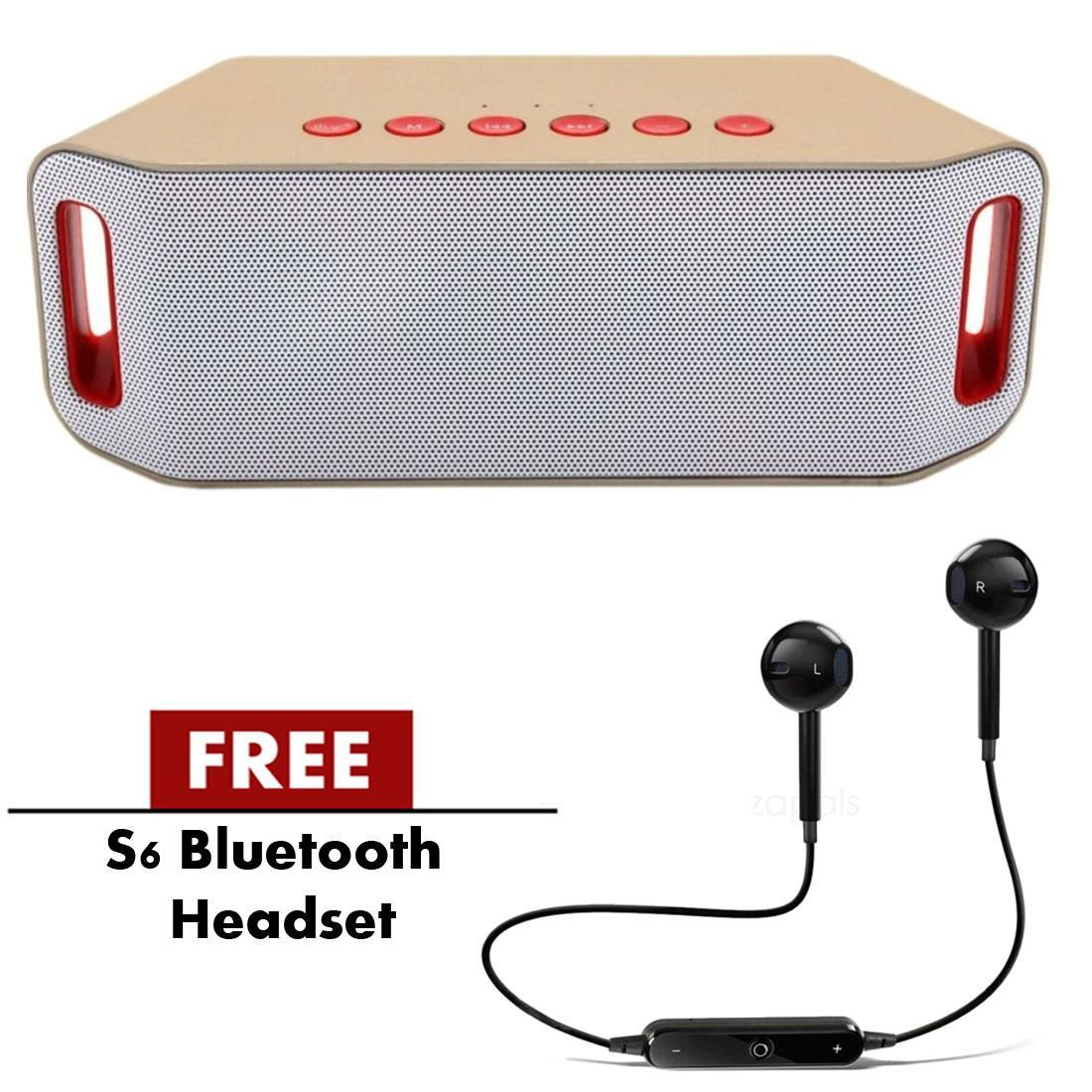 S204 SuperBass Portable Wireless Bluetooth Speaker (Gold) With Free S6 4 1  Bluetooth Sport Wireless Headset (Black)