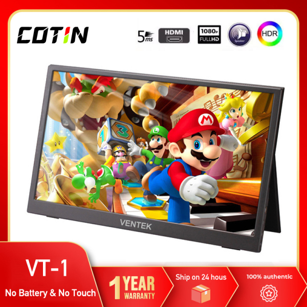 COTIN VT-1 thin portable lcd hd monitor 15.6 usb type c hdmi for laptop,phone,xbox,switch and ps4 portable lcd gaming monitor Malaysia