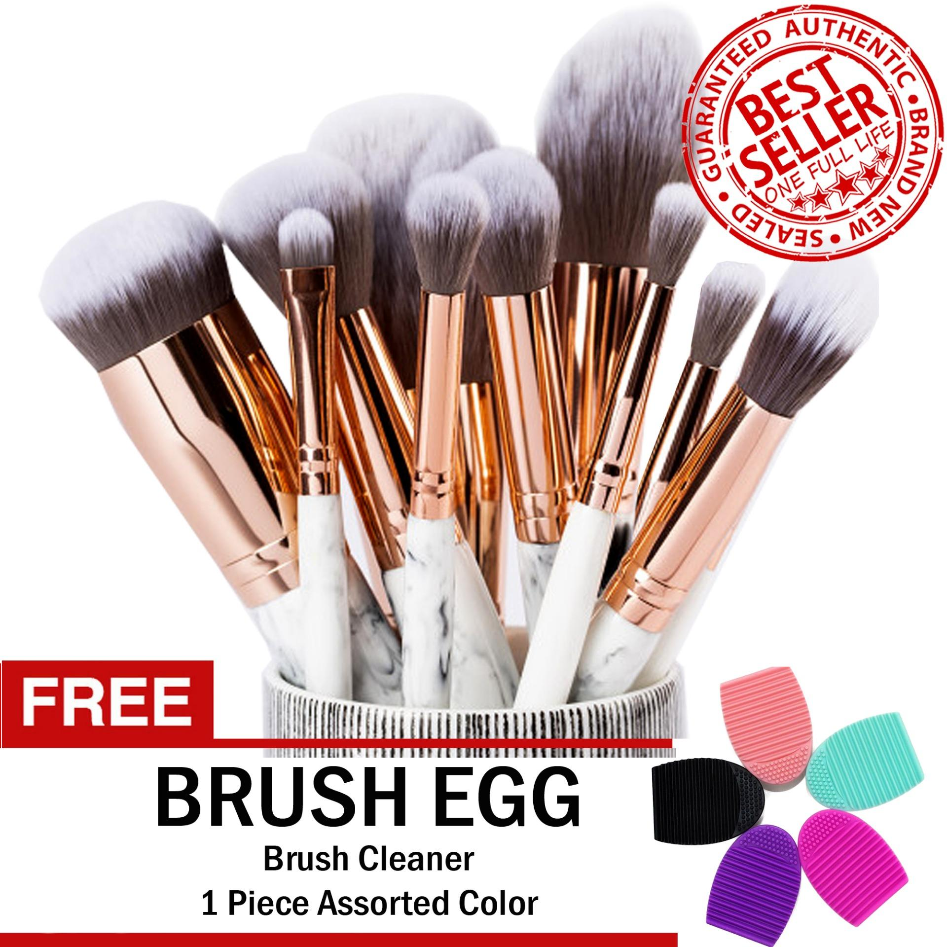 Marble Professional Make Up Brush Set 10 Pieces GRAY FREE Brush Egg Philippines