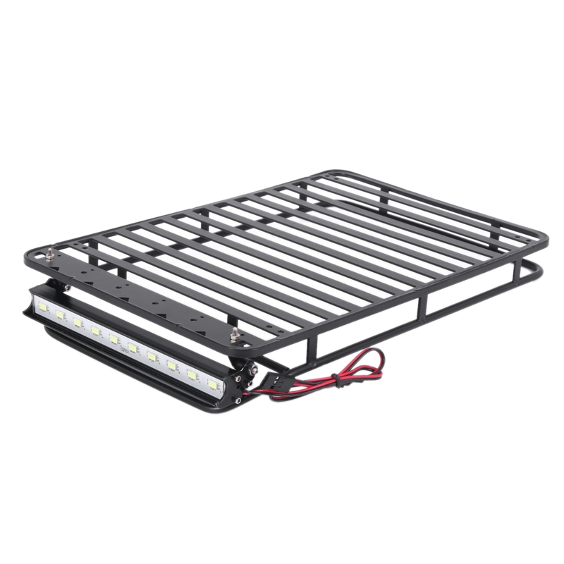 Roof Rack Luggage Carrier /& Light for 1//10 RC Axial SCX10 /& AXI03007 90046 TRX4