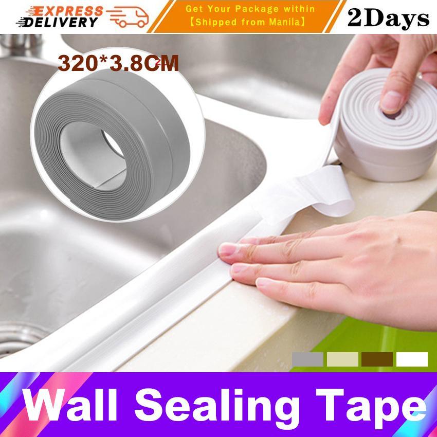 3.2mx3.8cm Wall Sealing Tape Home Bathroom Bathtub Kitchen Pvc Material Kitchen Bathroom Wall Sealing Tape Waterproof Mold Proof Adhesive Tape Strip Sealant Tape Mildew Resistant By George Global.