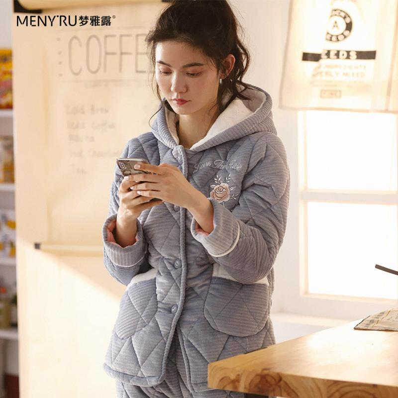 INS Autumn   Winter Coral Velvet Pajamas women Thick Warm Three Layer Padded  women Home Service 13dbbf254