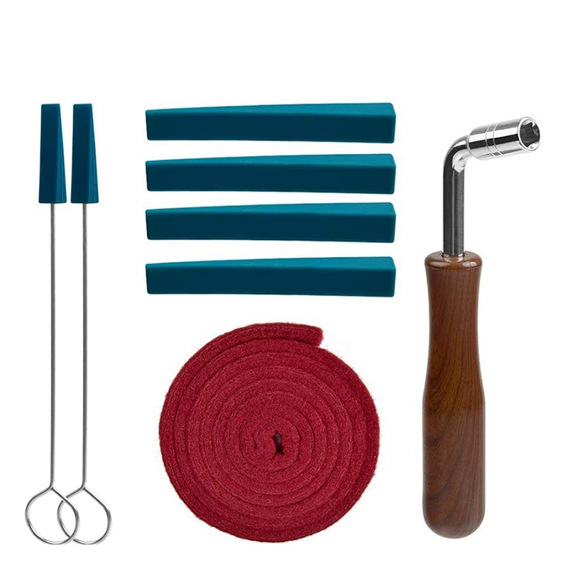 Piano Tuner Kit,8 Piece Piano Tuning Tool Include 1 L Shape Piano Tuning Hammer Wrench 1x Red Temperament Strip 4x Mutes Handles and 2x Long Rubber Mutes