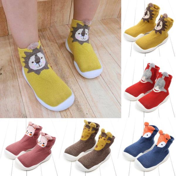 Giá bán 1 đôi Giày sàn trong nhà Tất chân Giày cho trẻ mới biết đi Giày tất Fox Tiger Dày chống trơn Kiểu động vật