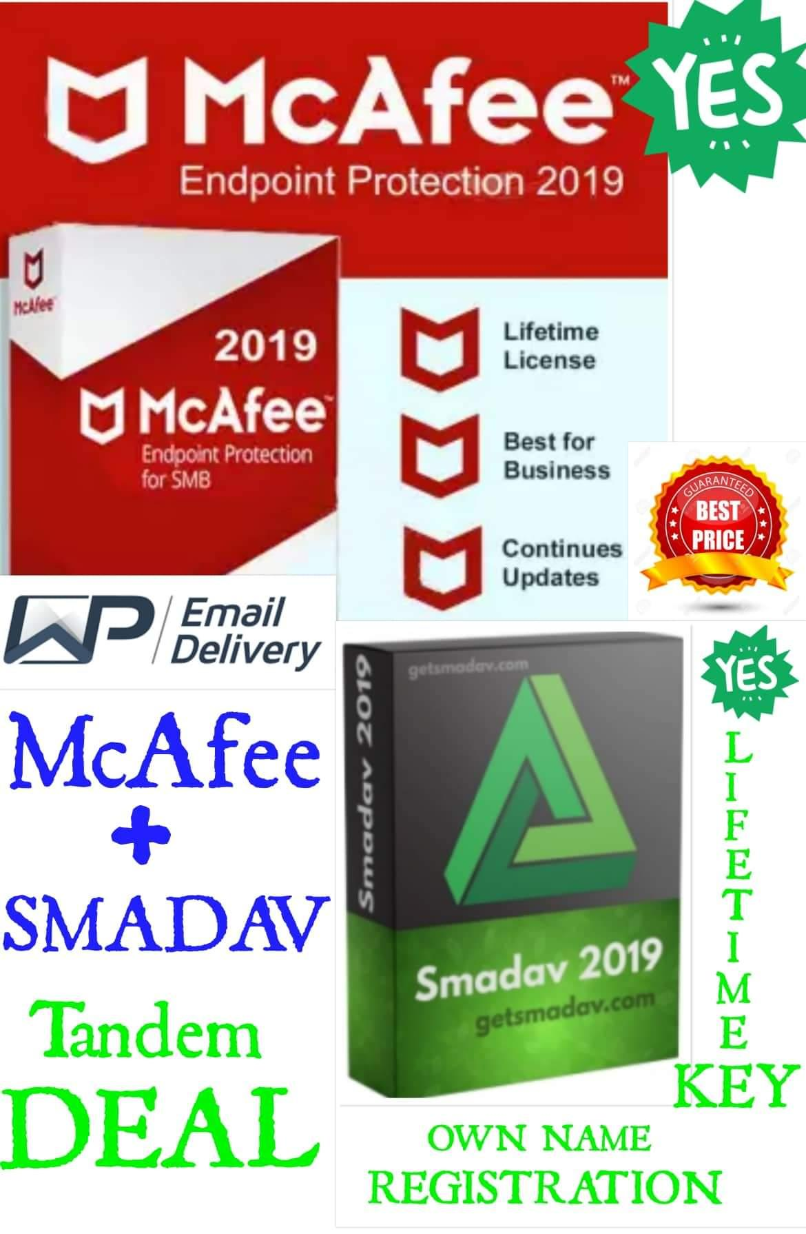McAfee Endpoint Protection + SMADAV 2019 Antivirus for Windows (Lifetime  Activated+Unlimited User)
