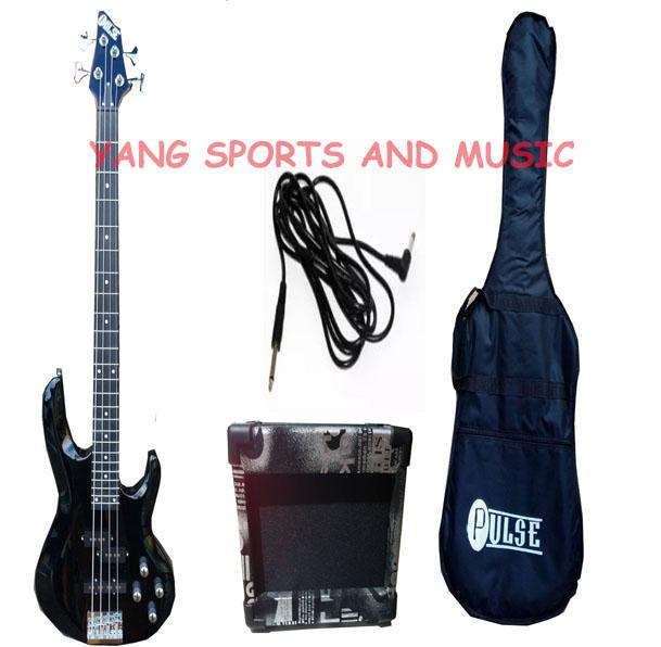Pulse Bass Guitar 4 string (BLACK) WITH BAG ,CORD and Global Guitar Amplifier