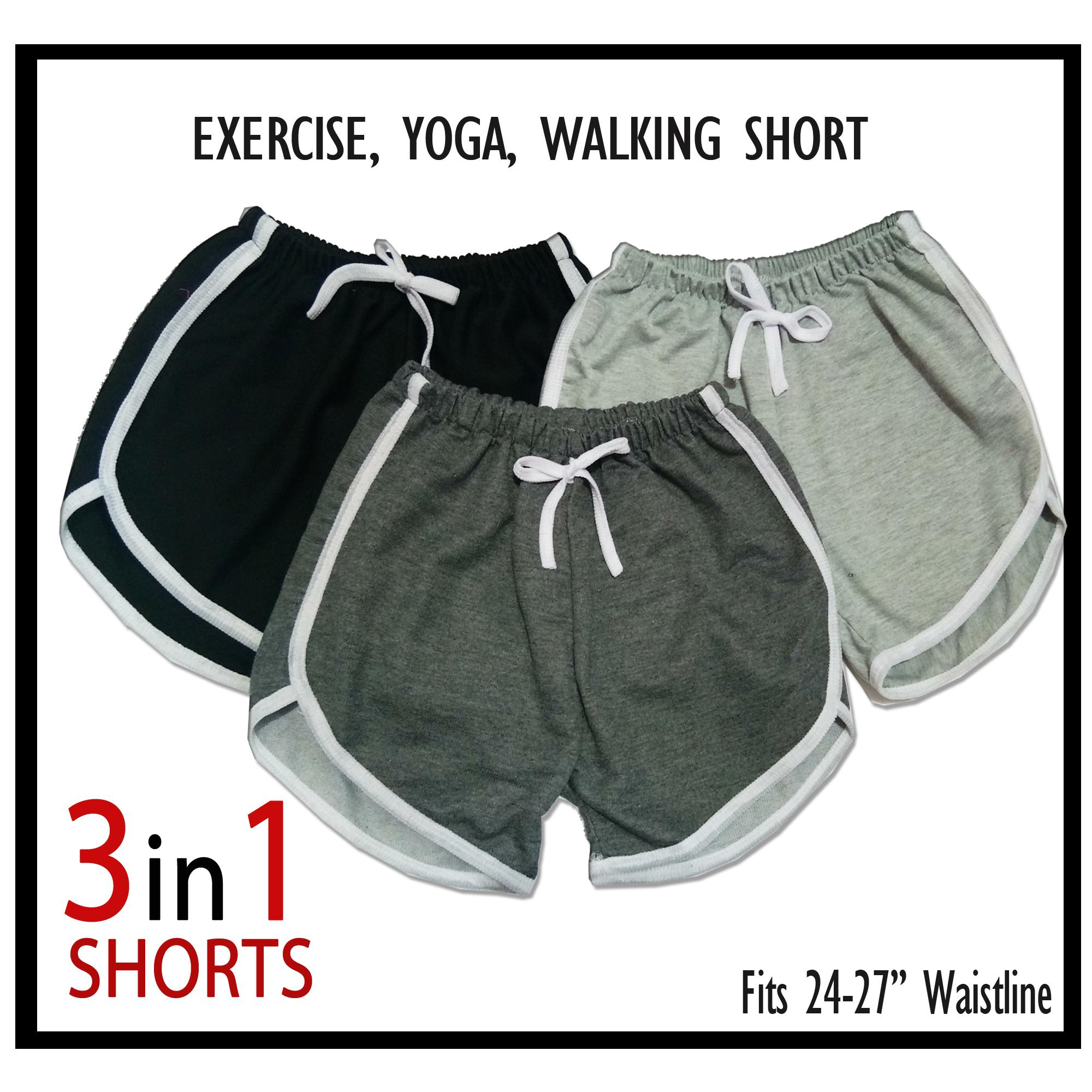 7d527c6a4dd84 3 PIECES - 28 inches Waistline Dolphin Short for Ladies Short Women Ideal  for Yoga