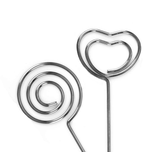60 Pieces Metal Wires Memo Clip Note Card Holders Table Number Clip Photo Stand for Wedding Party Cake Decor, Round and Heart Shape, Silvery
