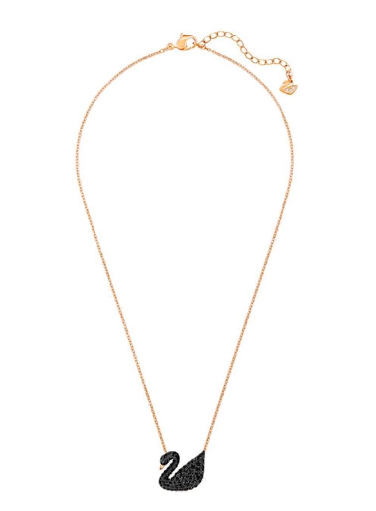 Swarovski * Iconic Swan Pendant Black Pave 38cm Rose Gold Chain Necklace s