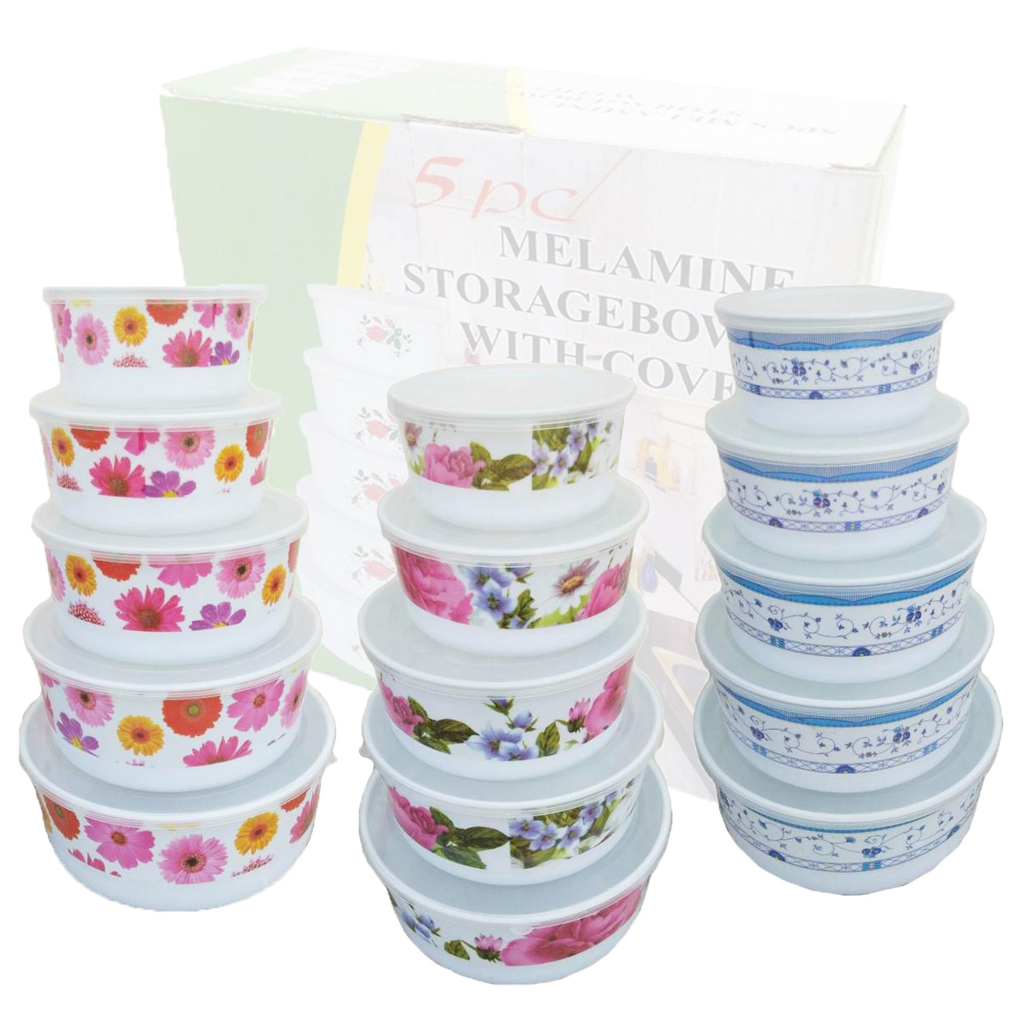 5 Pcs. Plastic Storage Bowl Food Container With Cover By Geneva Online Shop.