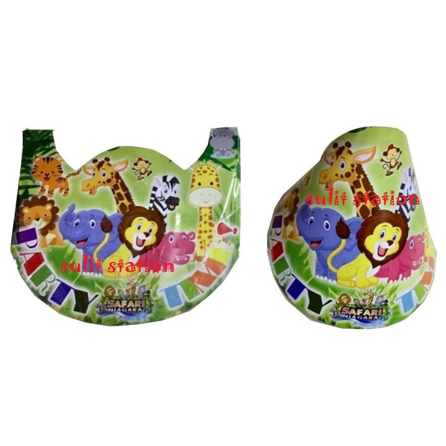 e6ad49ad659 10Pcs SAFARI Jungle Zoo Animals Party Paper Hats Giveaways Souvenirs needs  favor hat decor supply