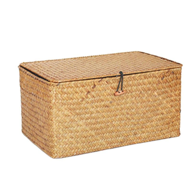 Handmade Straw Woven Storage Basket with Lid Makeup Organizer Storage Box Seagrass Laundry Baskets Rattan Jewelry Box(L)
