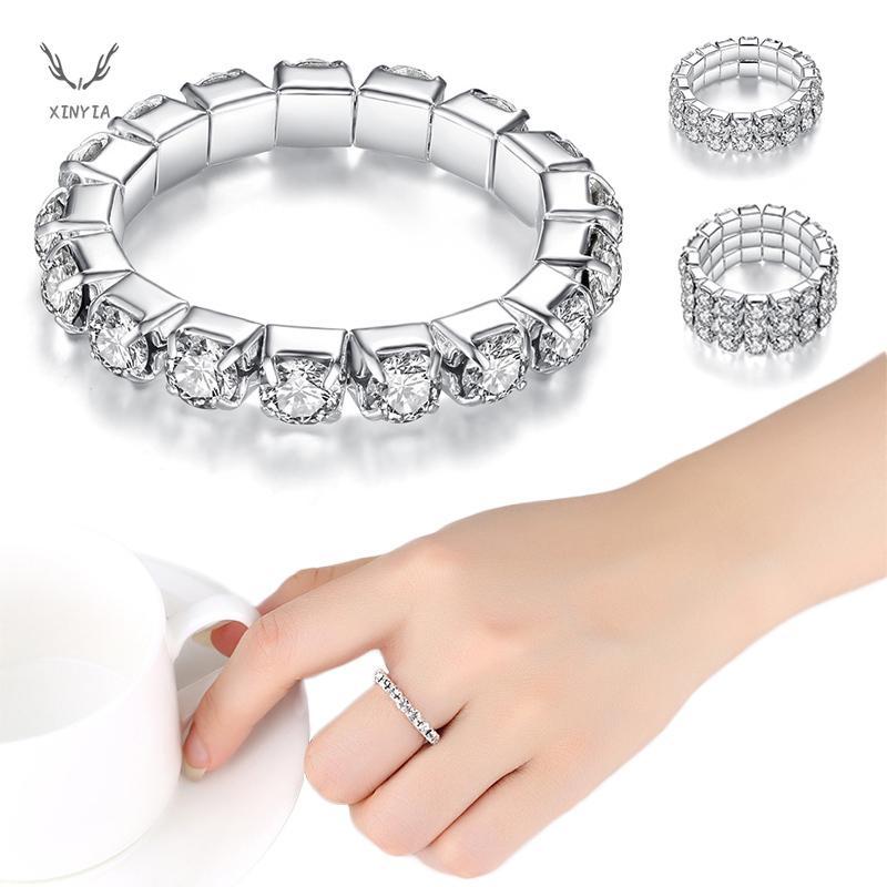 Korean Silver Elastic Crystal Multiple Rows Rings For Women Rhinestones Ring