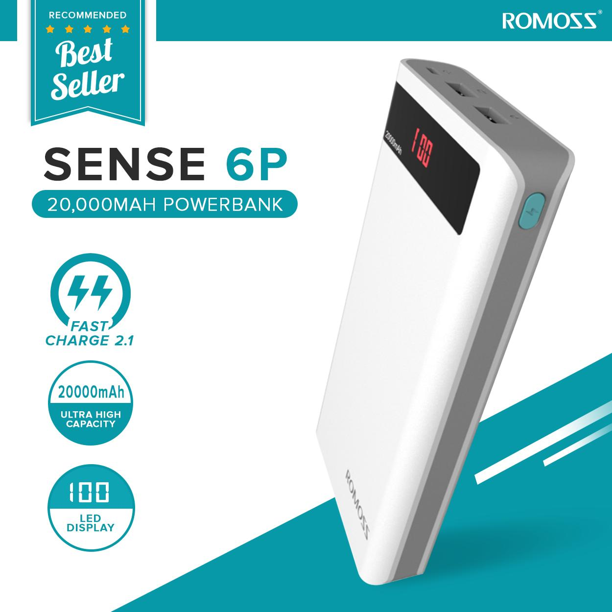 ROMOSS Sense 6P PH80 20000mAh Power Bank White