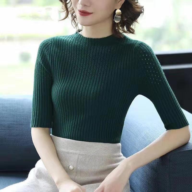 219bc074756 Women Korean Style Casual Knitted Top Blouse 3 4 Sleeve Free Size