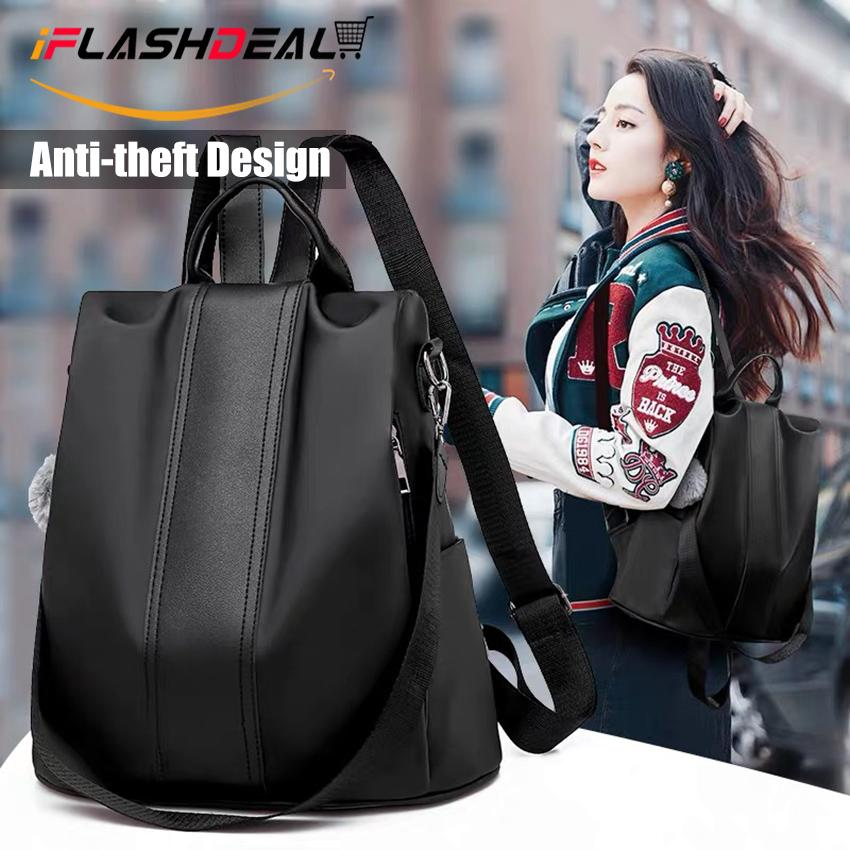 Iflashdeal Fashion Women Backpack Shoulder Bag Korea Style Anti-Theft Backpack College School Bag For Students Teenagers Ladies Girls Back Pack Laptop Computer Waterproof Oxford Day Pack By Iflashdeal.