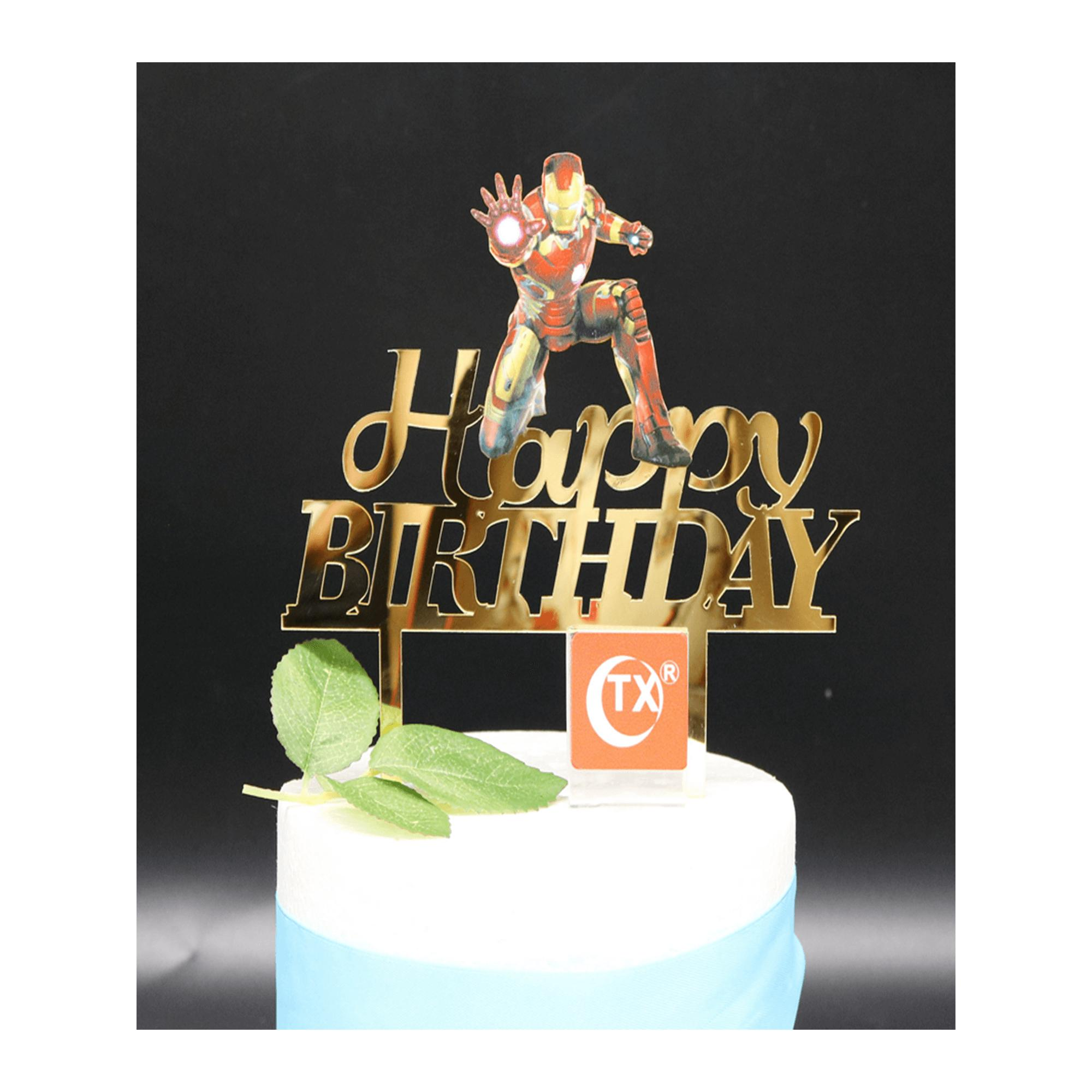 Ironman Avengers Happy Birthday Acrylic Cake Topper