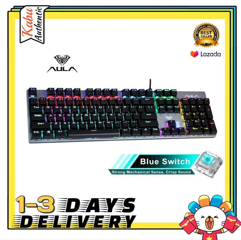 【Ready Stock】 AULA S2016/F2068 Mechanical Gaming keyboard 104 Keys Anti-ghosting Marco Programming LED Backlit Keyboard for PC Laptop Computer Singapore