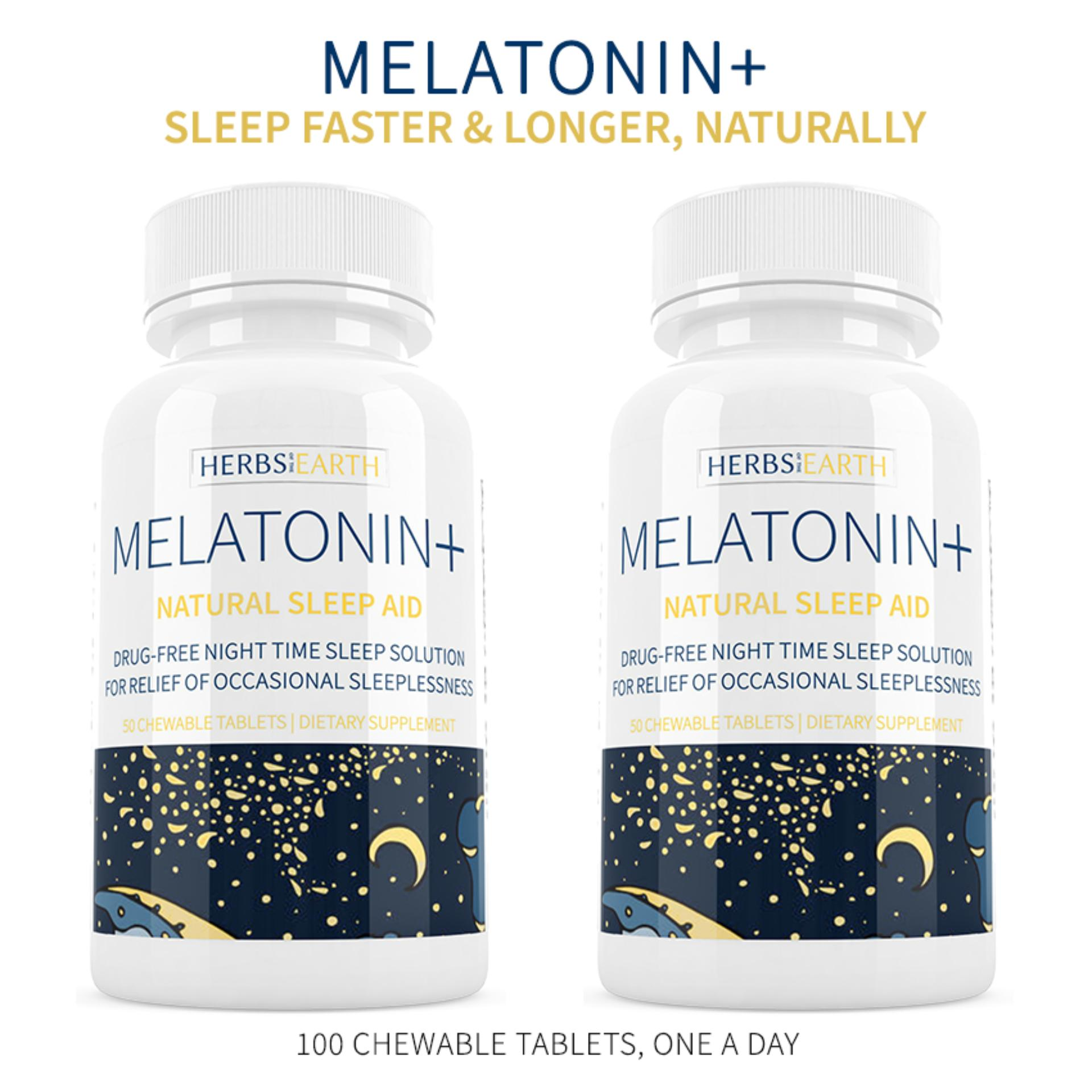 Melatonin + Sleep Faster & Longer 2 Bottles, 3MG Fast Acting Chewable  Tablets, For Insomniacs or Stress Induced Sleeplessness, 100 Chewable  Tablets