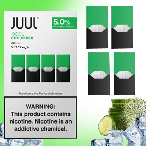 JUUL Pods Starter Kit Cool Cucumber 4 Pods / Cartridges in 1 pack Smok Vape Juice Pods, Juul case