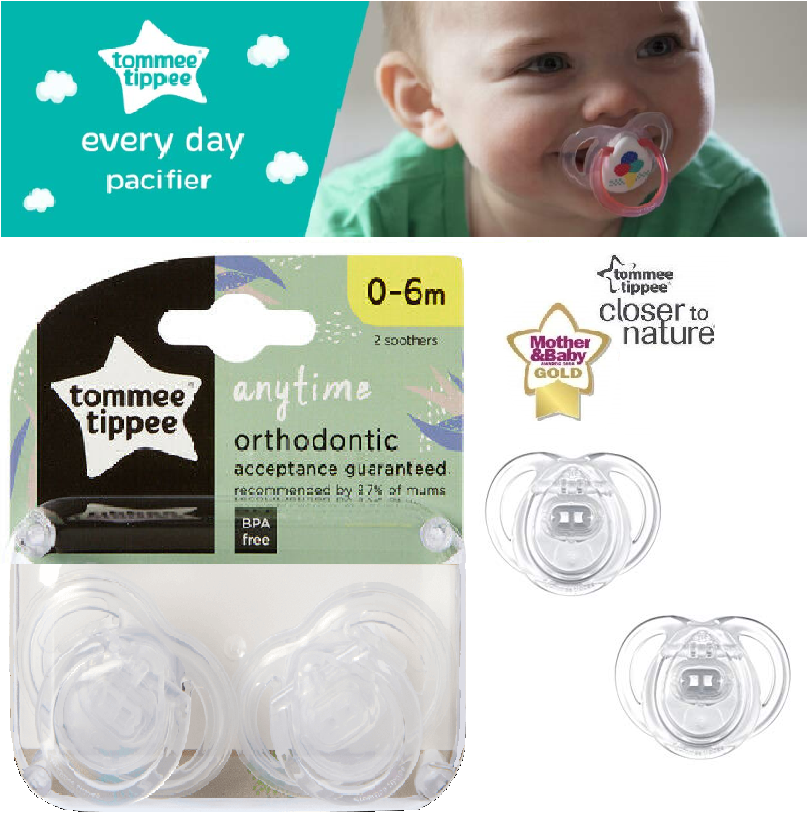 Tommy Tippee Closer To Nature Pure Air Orthadontic Soother Pacifier Dummy 0-3 M