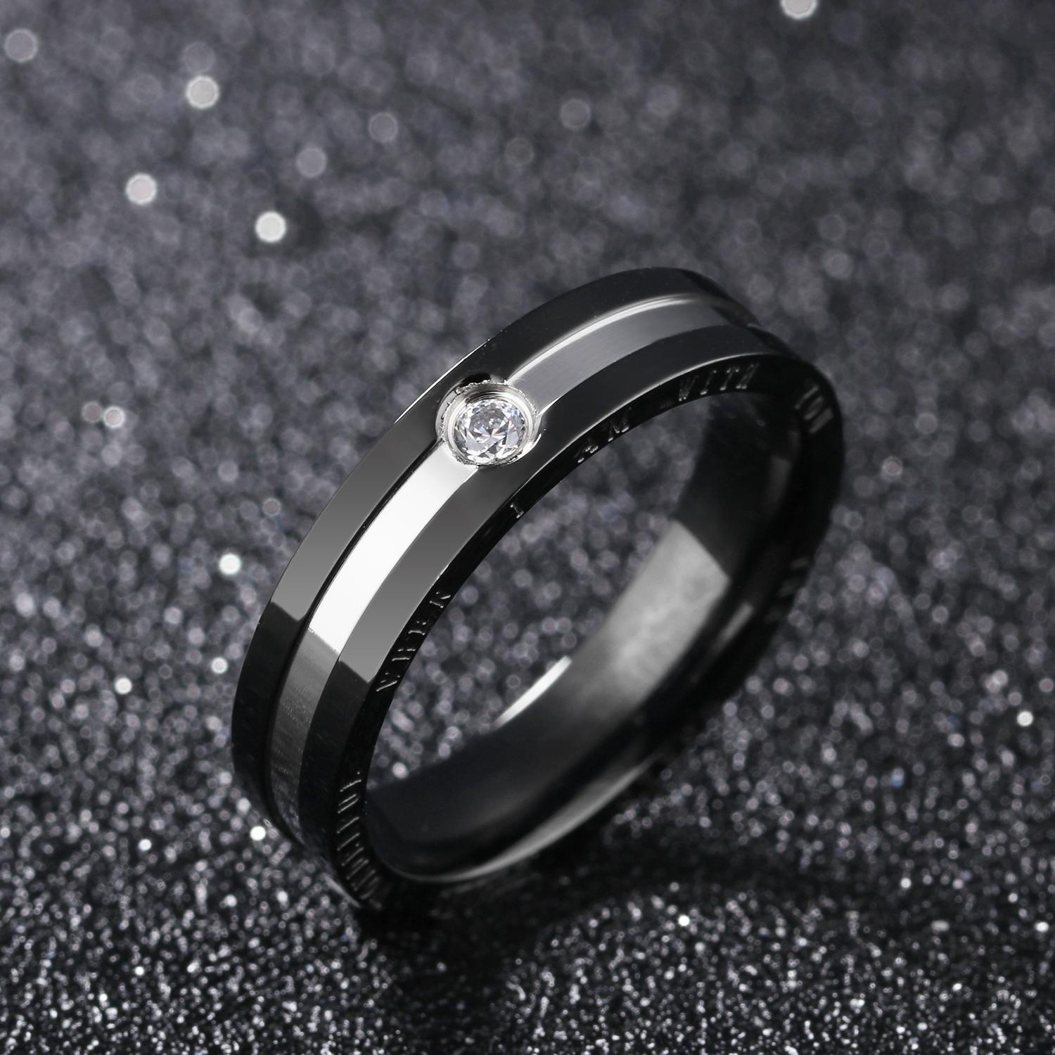 e90d15e3136e ZUNCLE Male Swiss Import Diamond Ring(Black+Silver)