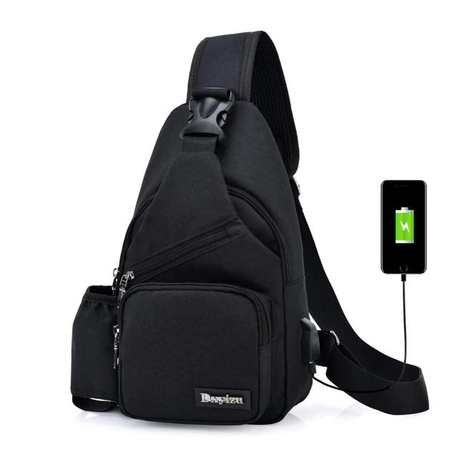 Men s Anti Theft Chest Sling Bag with USB Port for Powerbank and Bottle  Holder 098bc779dd524