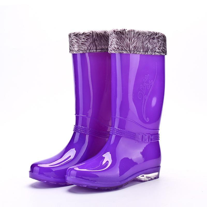 Tahun 2017 Musim Gugur Dan Dingin Model Baru Penghangat Model Wanita Sepatu Boots Hujan Wanita Sepatu Anti Air Modis Perlindungan Pekerja Ukuran Panjang Lebih Tebal Tambah Beludru Sepatu Bot Hujan By Koleksi Taobao