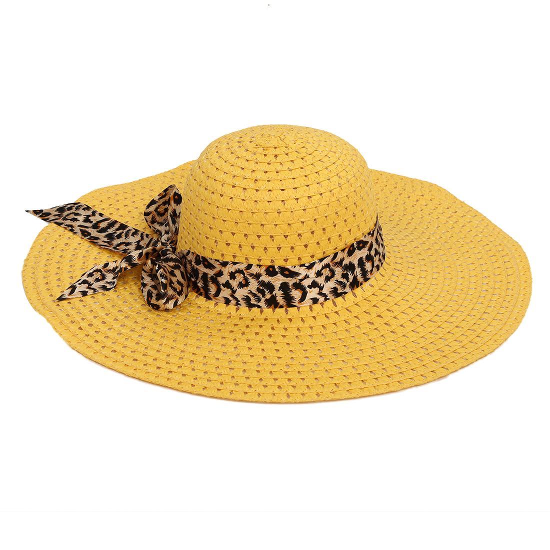 4d2b5dc29baaa Beige Summer Exquisite Leopard Ribbon Bowknot Decorated Openwork Sun Hat  For Women