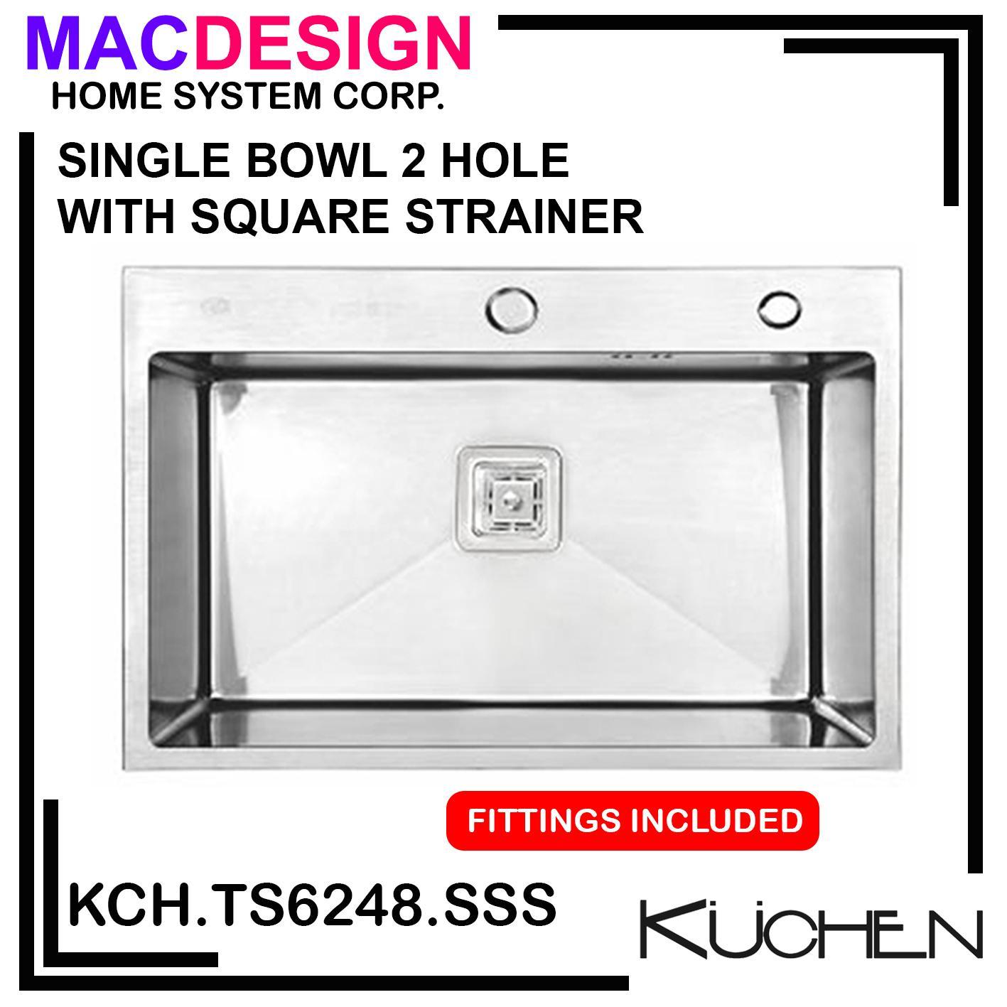 Kuchen Single Bowl Square Strainer Kitchen Sink 620 X 480 X 228mm Kch Ts6248 Sss 2 Hole With Lazada Ph