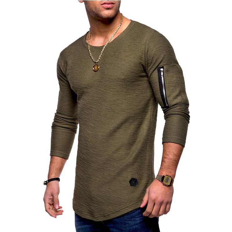2f3a9150943 Long Sleeve T-Shirt Casual Summer Autumn Men s Tops Street Slim Men s Tops  Long Sleeve
