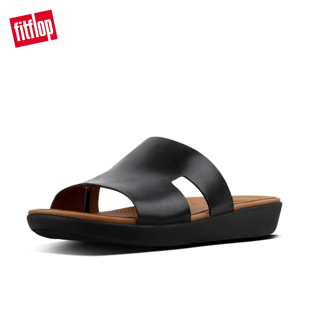 470b13397bc8 Fitflop Women s Sandals L12 H-Bar Slide Sandals - Leather Comfortable  Casual Slides