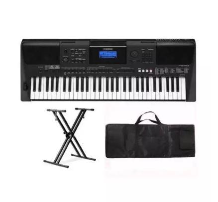 Yamaha PSRE463 61-Key Portable Keyboard with Double X Keyboard Stand and  Keyboard Bag
