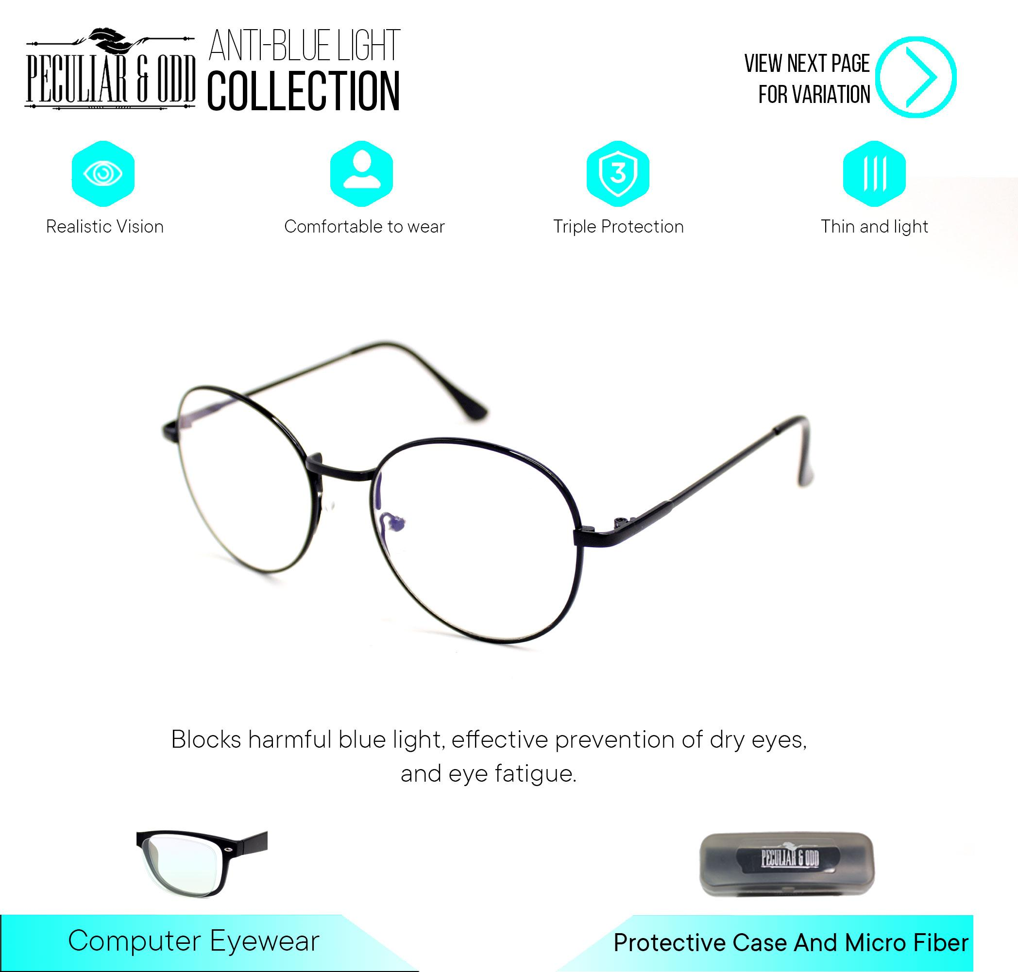 0bb14cb02109 Peculiar Round Eyeglasses 8627 Antiradiation Lenses in Thin Metal Frame  Lightweight Replaceable Optical Lens Unisex Eyewear
