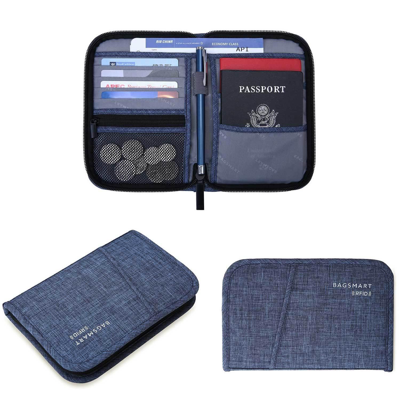 4f766ceb3319 BAGSMART BM0200093A031 TRAVEL RFID BLOCKING WALLET PASSPORT HOLDER COVER  CREDIT CARD ORGANIZER
