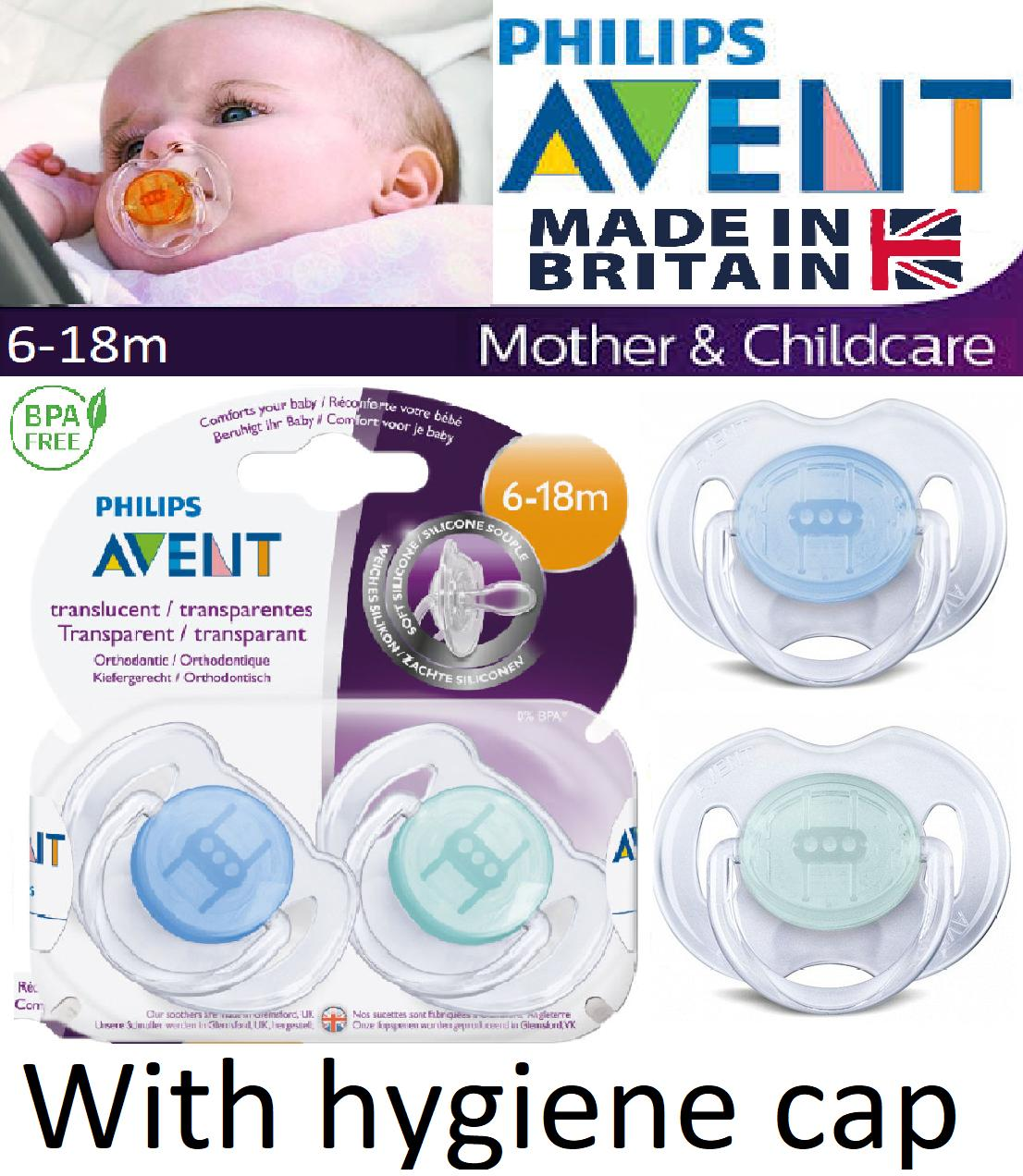 Philips Avent Baby Soother Dummy Nipple 0-6m 6-18m Pacifier Translucent