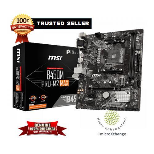 MSI PRO B450M PRO-M2 MAX 3RD GEN AM4 AMD B450 SATA 6Gb/s USB 3.1 HDMI Micro ATX AMD Motherboard