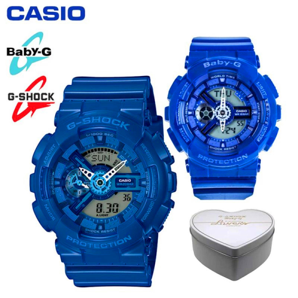Original G Shock Baby G GA110 BA110 Men Women Couple Set Sport Watch Dual Time Display Water Resistant Shockproof and Waterproof World Time LED Light Sports Lover Wrist Watches with 2 Year Warranty BA-110BC-2A/GA-110BC-2 Blue (Ready Stock) Malaysia