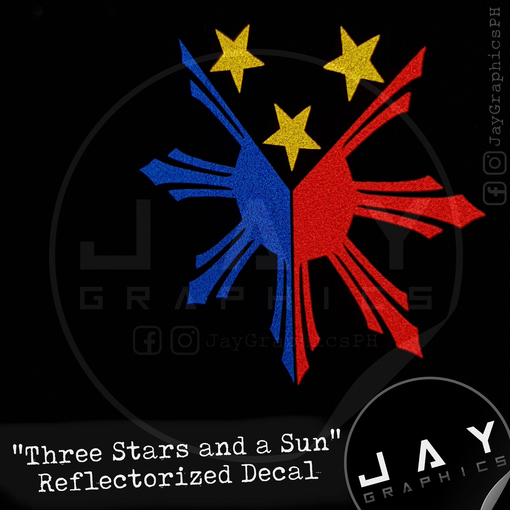 Three Stars and a Sun Decal - Reflectorized
