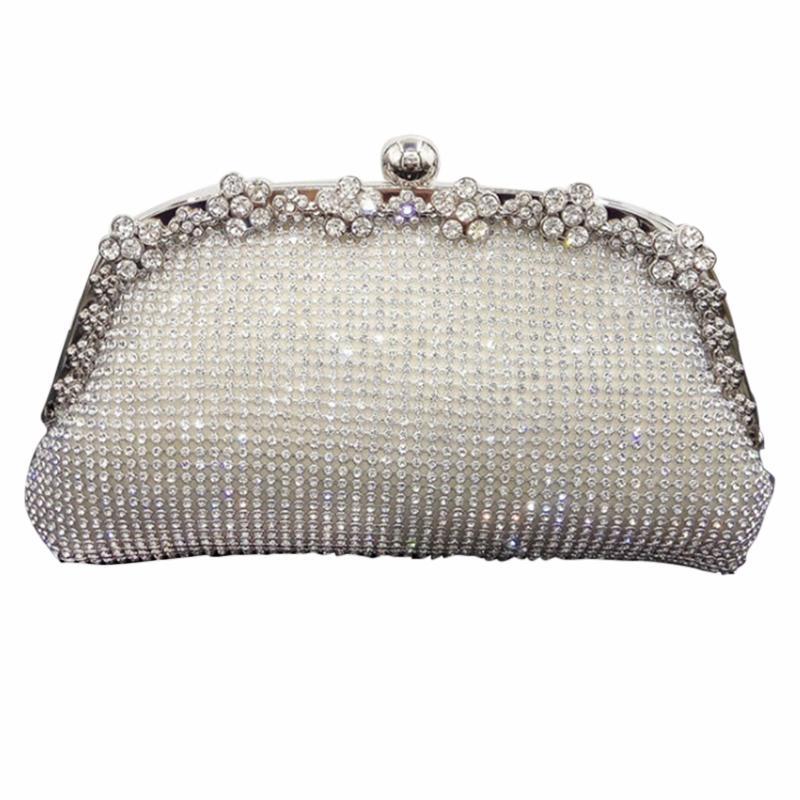cf543caa0a0 New Diamonds Chain Evening Bag Silver Wedding Bags For Bride Women  Messenger Party Handbag Elegant Clutch