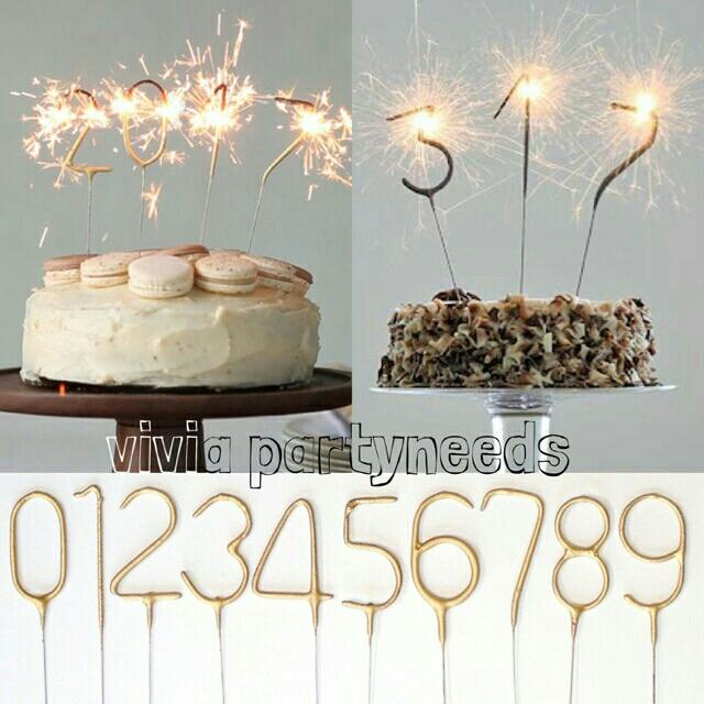 Number Sparkling Candle / Topper Gold By Ah K Asta Store.