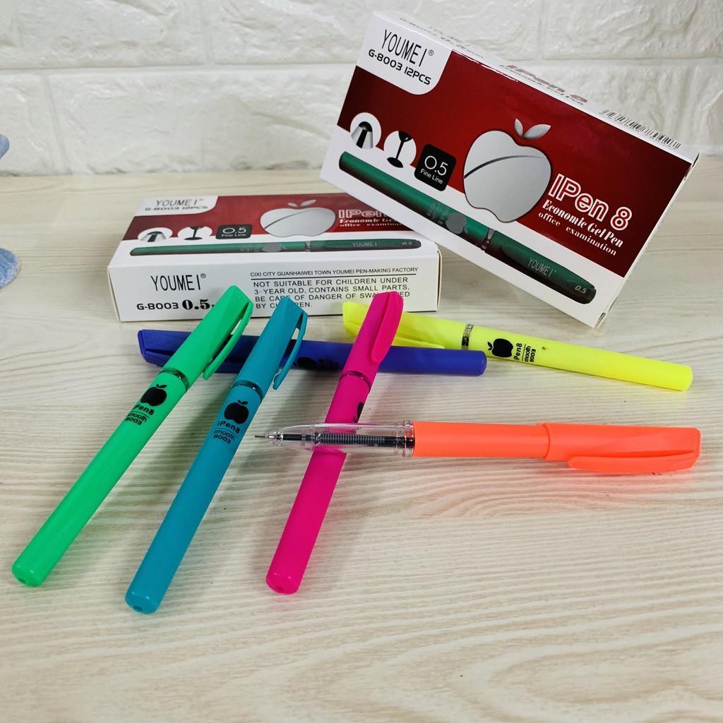12Pcs/Box 0 5mm Black Gel Pen Apple pen School Office Supplies