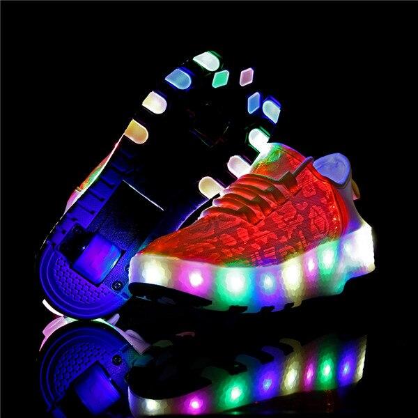 White Two Wheels One Sneakers USB Charging Led Light Roller Skate Shoes for Children Kids Shoes Boys Girls Shoes Light Up Unisex